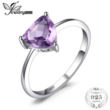 JewelryPalace Trillion 1.1ct Natural Purple Amethyst Birthstone Solitaire Ring 925 Sterling Silver Fine Jewelry New On Sale