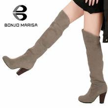 BONJOMARISA Gran Tamaño de La Moda Sobre La Rodilla Botas Altas Mujeres Zapatos de Vestir Casuales Zapatos Sexy Botas de Moto de Invierno Mujeres XB135