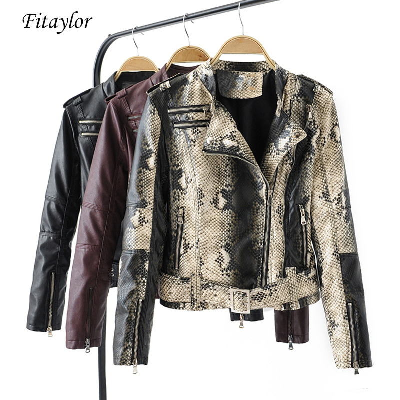 Fitaylor Women Faux Soft   Leather   Jacket Snakeskin Black Punk Short Jacket Coats Female Rivet Zipper Turn-down Collar Outerwear