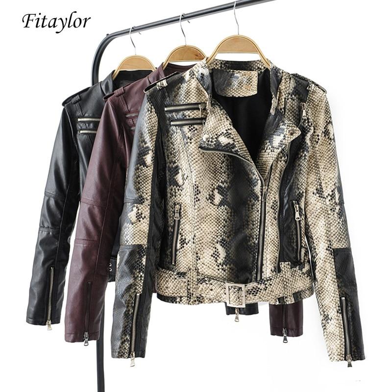 Fitaylor Women Faux Soft   Leather   Jacket Snakeskin Black Punk Short Jacket Coats Female Rivet Zipper Turn-down Collar Outerwear