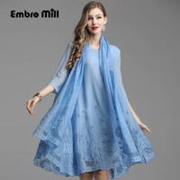 spring summer Fame style embroidery Ruffle Retro o neck women dress noble flower elegant lady Two piece set dress L 5XL