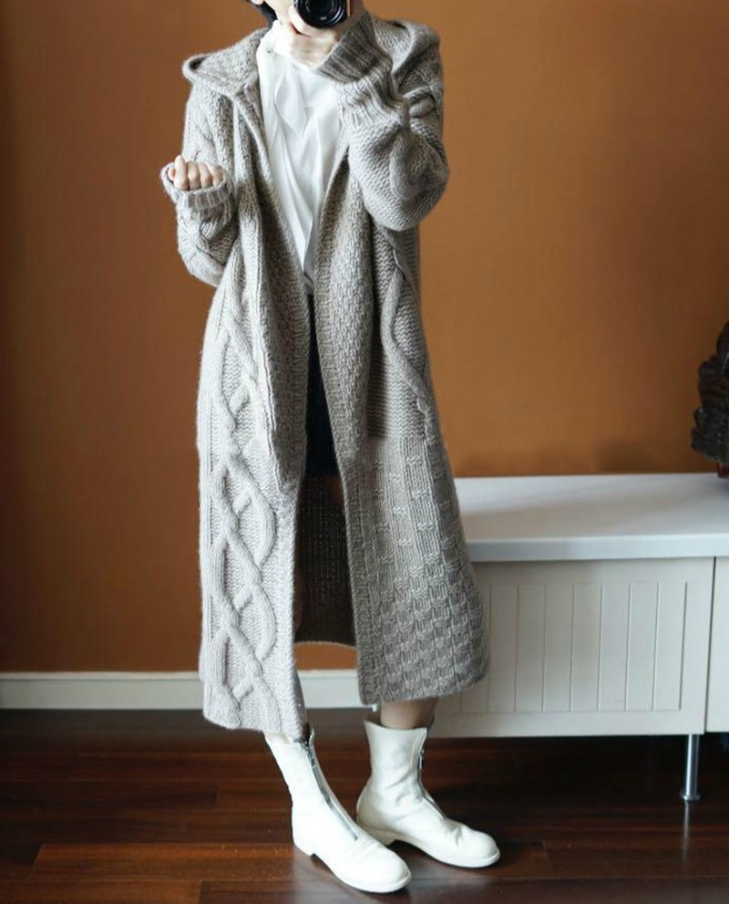 2018 Europe Womens Autumn Winter Hooded Long Knit   Trench   Coat Female Korean Fashion Wool Thick Windbreaker Sweater Coat