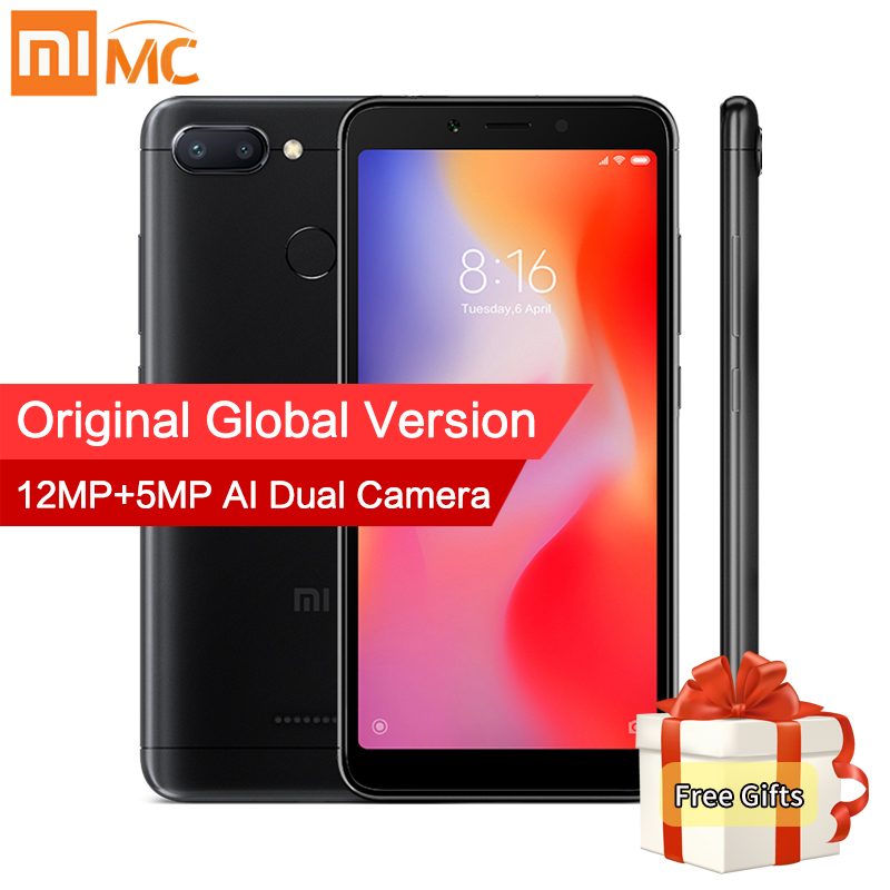 En Stock Mondial Version Xiaomi Redmi 6 3 gb 32 gb Mobile Téléphone MTK Helio P22 Octa Core 5.45 18:9 Plein Écran 12MP + 5MP Double Caméra