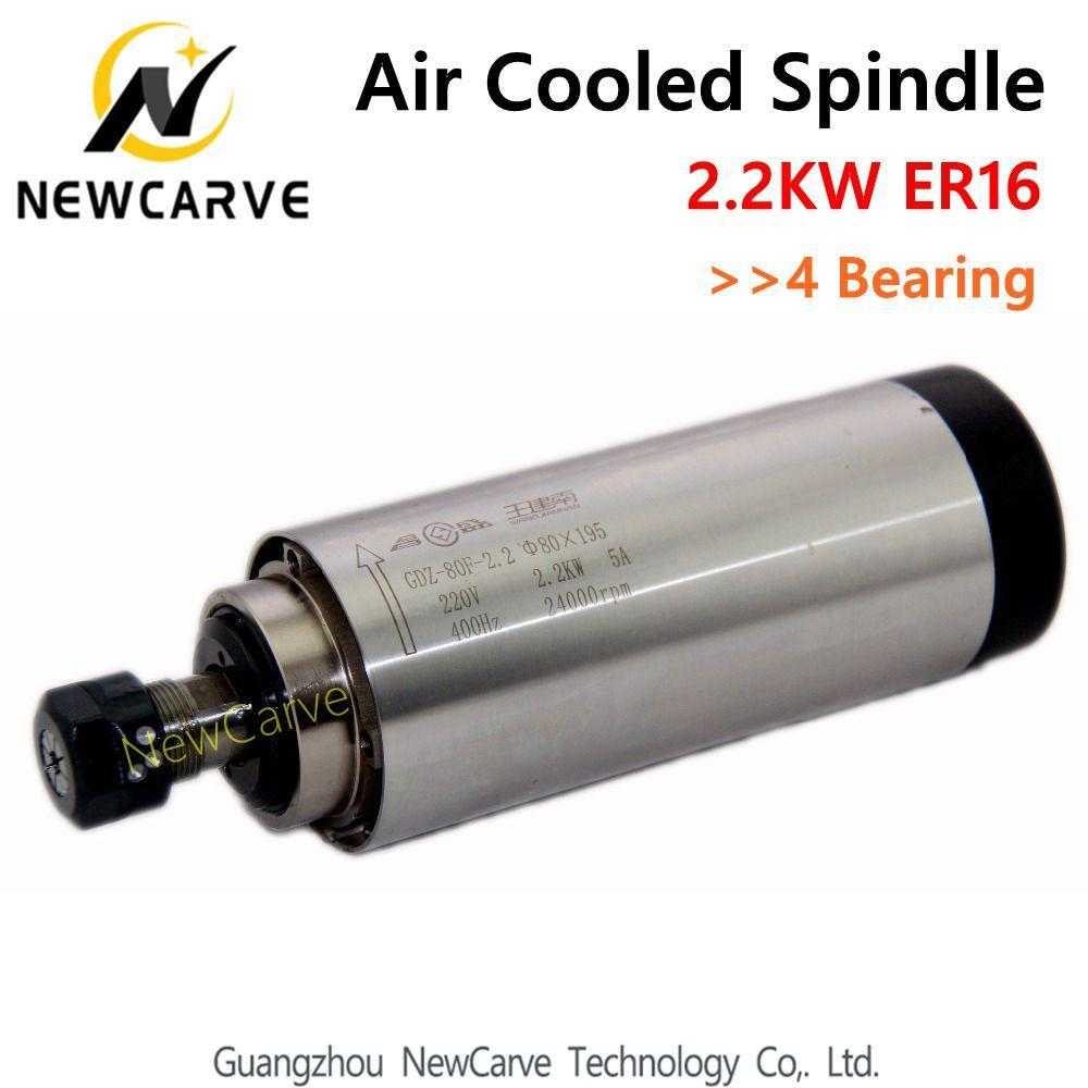 <font><b>2.2KW</b></font> <font><b>Air</b></font> <font><b>Cooled</b></font> <font><b>Spindle</b></font> ER16 Milling <font><b>Spindle</b></font> <font><b>2.2KW</b></font> 220V 80*195mm With 4 Bearing Newcarve image