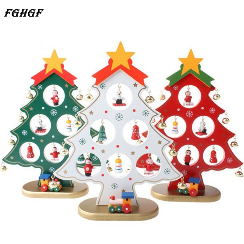 FGHGF 22CM Wooden Xmas Tree Desk Table Decor of Christmas Ornaments Large DIY Christmas Gift for Party/Home