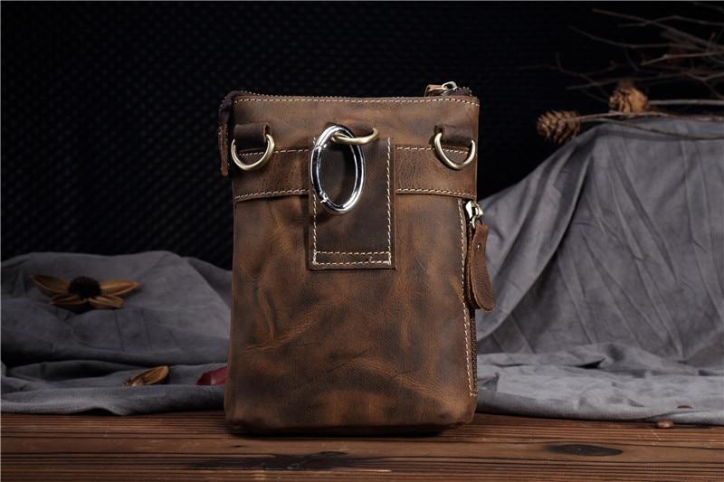 Vintage couro genuíno casual multi-funções saco de