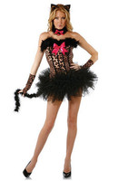2013 New Sexy Leopard Cat Halloween Cosplay Costume Outfit Fancy Performance Lingerie Pole Dancing Tutu Dress