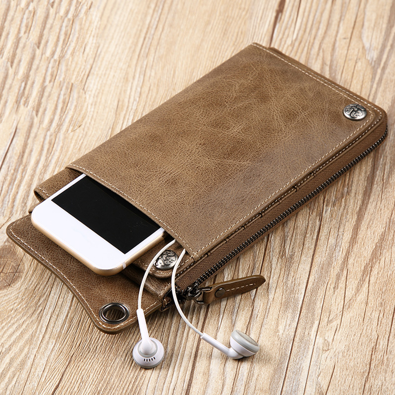 Exquisite Men Wallet High Quality Genuine Leather Wallets Purse For Men 5 Color Available Card Holder Cell Phone Pocket For Male terse key wallet men lettering handmade leather calfhide bespoke wallet men key holder exquisite hand patina good quality