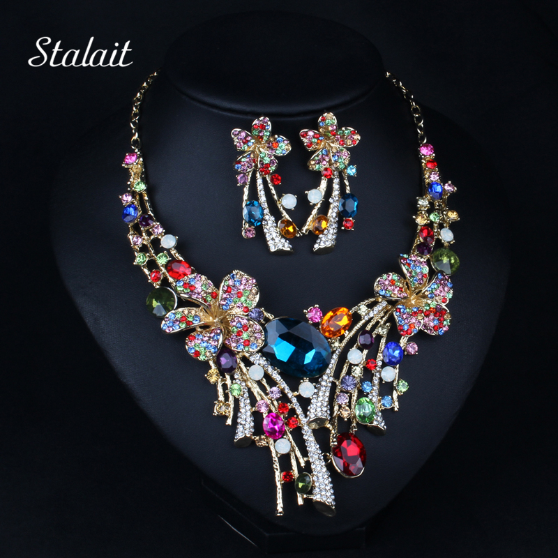 Hot 2017 New Austrian Crystal Jewelry Luxury Big Colorful Flower Wedding Bridal Jewelry set Statement Necklace Earrings