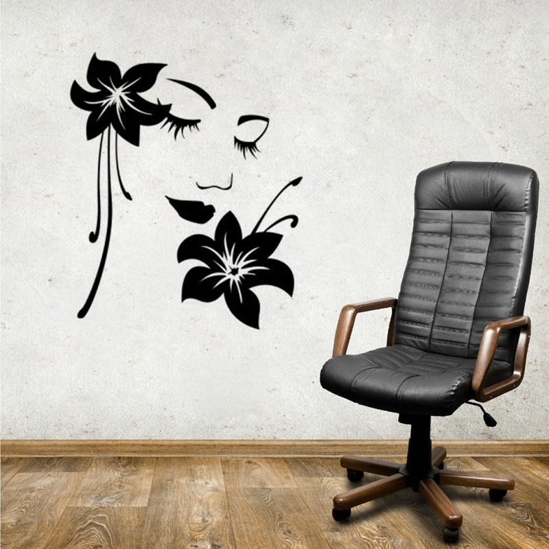 Vinyl diy art beautiful flower goddess home decoration - Beautiful wall stickers for living room ...
