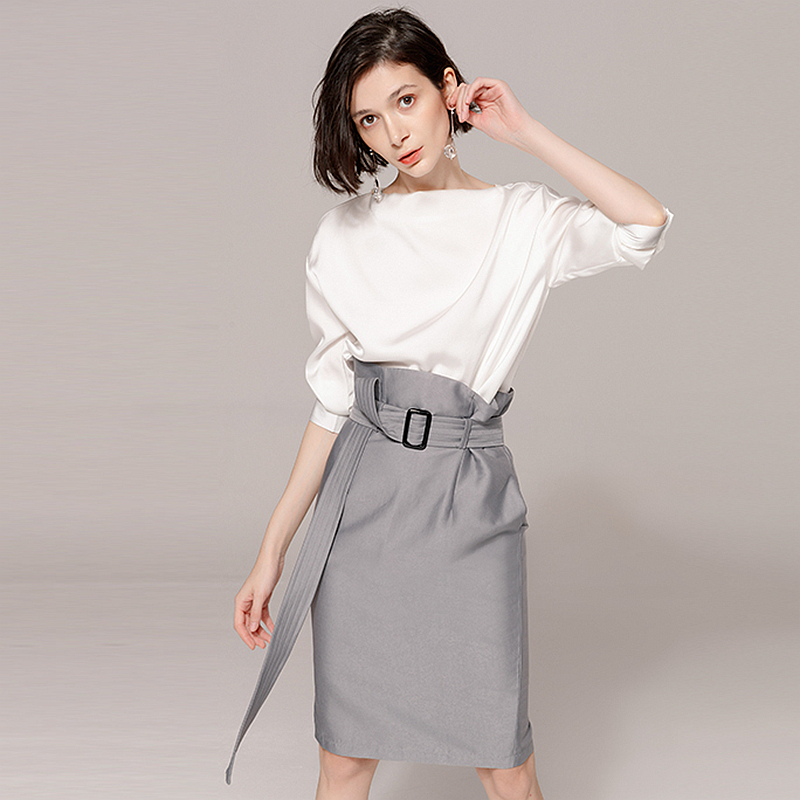 Suits Women Two Pieces Set 100 Polyester Slash Neck Fabric Long Sleeves Sashes Pockets High Waist
