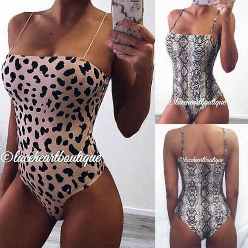 Zomer Womens Serpentine Luipaard Gedrukt Badpak Mouwloze Dames Stretch Bikini Beachwear Badmode Kostuum