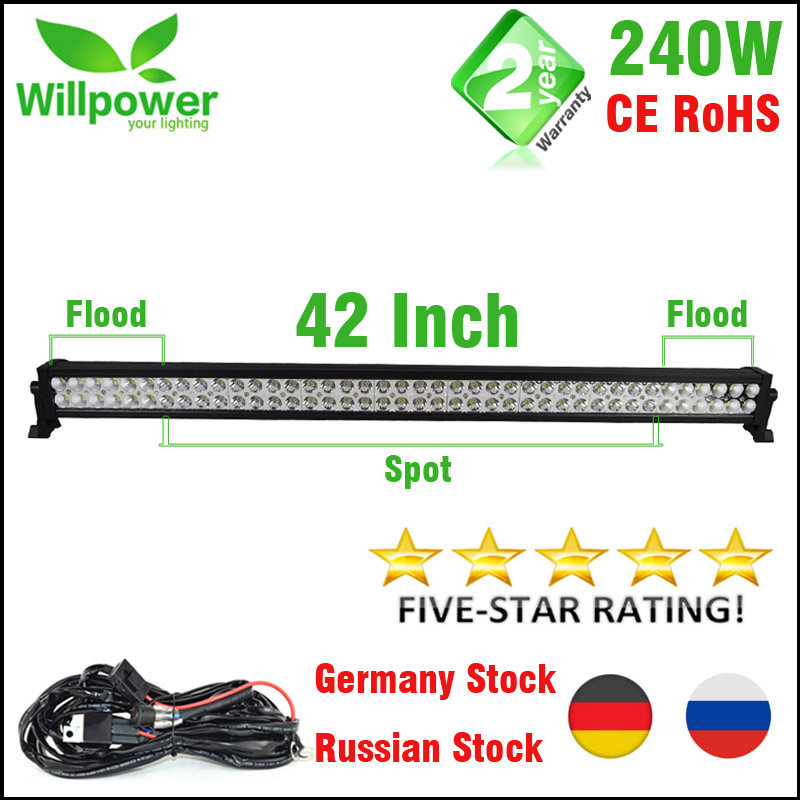 FREE Shipping 4x4 Combo Beam 24000lms 42 Inch 240w 4x4 Car Driving Lights Wiring Kit 12v Offroad Led Light Bar Work Light