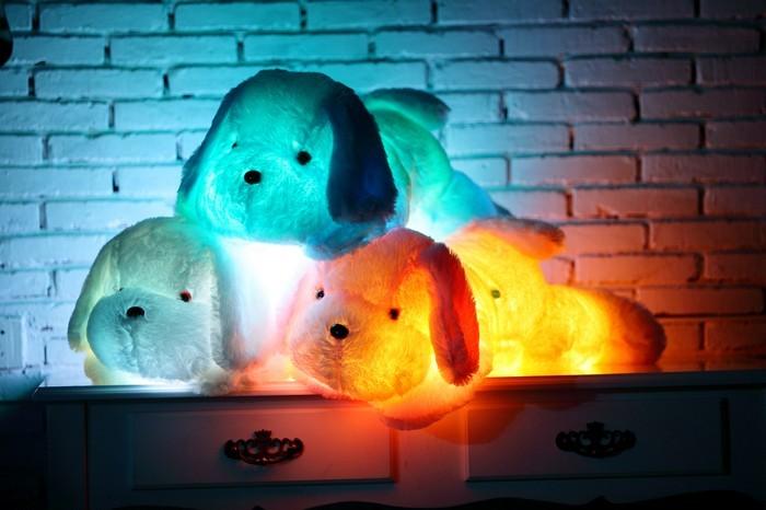 35/50 cm Kawaii Bercahaya Teddy Dog Plush Doll Toys Colorful LED - Boneka dan mainan lunak - Foto 2