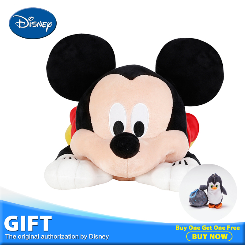Disney Multifunctional Micky Mouse Plush Stuffed Toys Peluches Doll Pillow Cushion Portable Kid Rest Warm Blanket Christmas Gift disney master car children plush toy peluches stuffed doll with rest blanket kids pillow cushion toys christmas birthday gifts