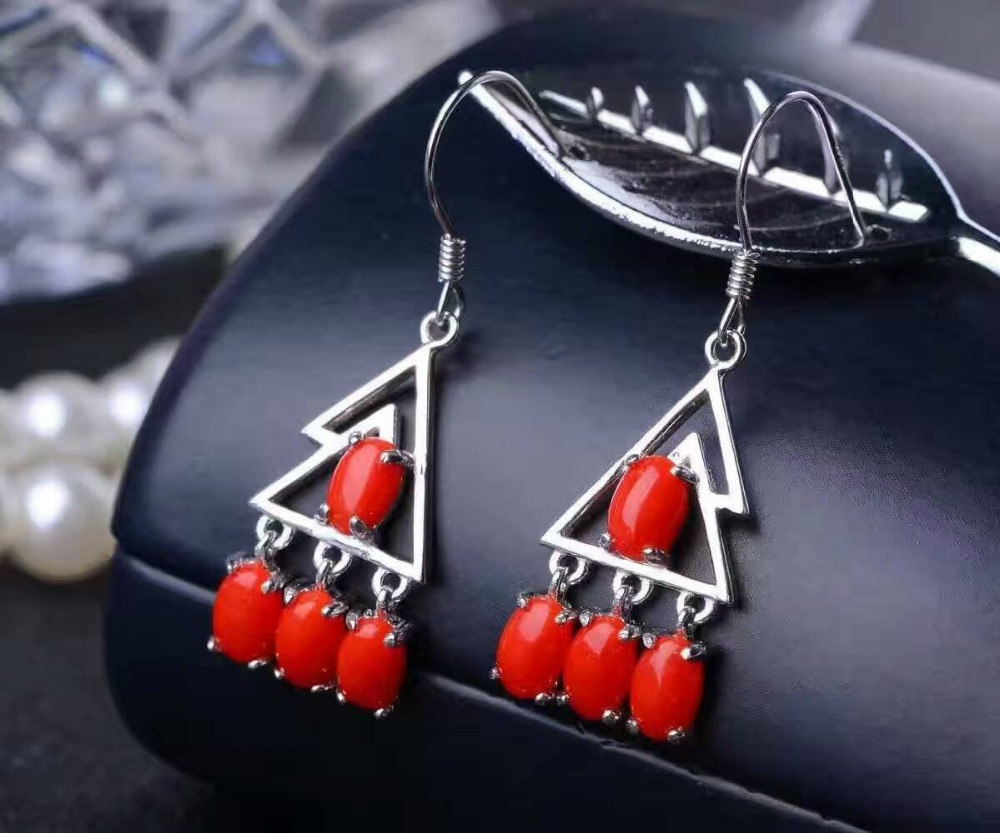 natural red coral drop earrings s925 silver Natural gemstone earring for women Elegant fine drop earrings jewelry engagement love monologue fashion jewelry lovely red create coral drop earrings for womens free gift bag j0494