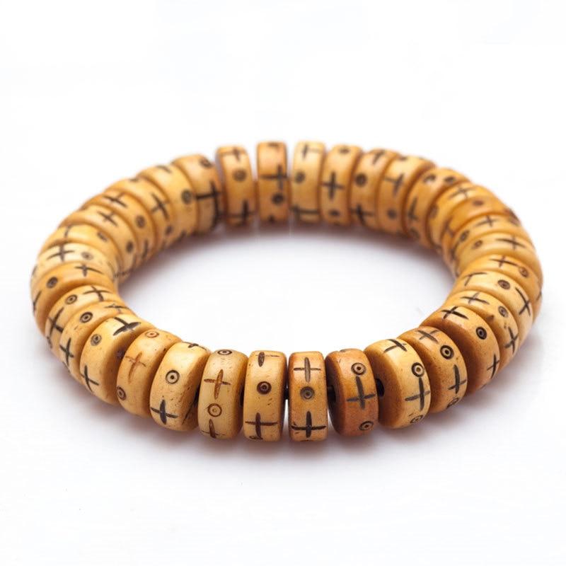 BB-192 Tibetan Bracelet Stretch Yak Bone Carved Totem Beaded Bracelets