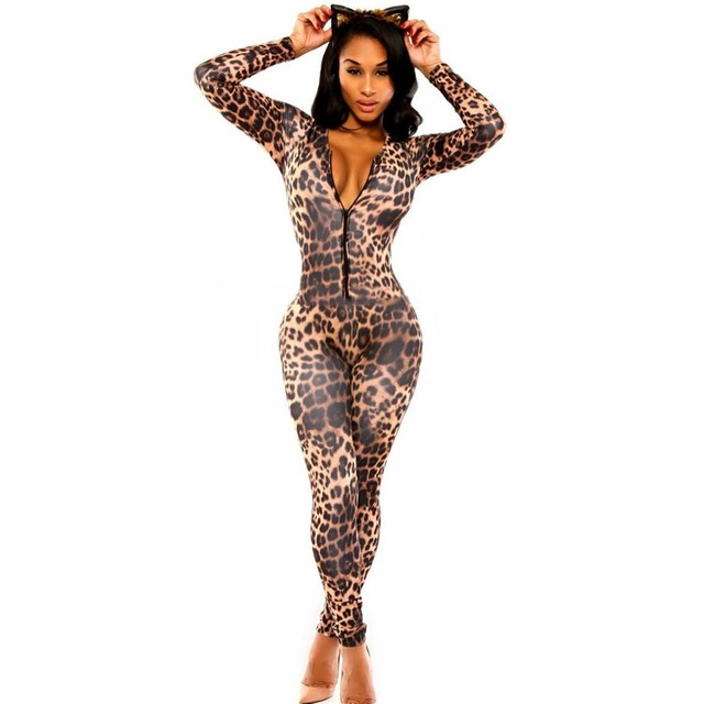 Sexy Bodycon Women Jumpsuits and Rompers Overalls Open Front Leopard print catsuit Kitten Club Catsuit Macacao Feminino A6961