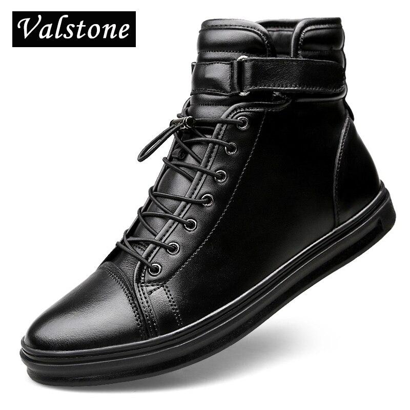 Ayakk.'ten Çalışma ve Güvenlik Botları'de Valstone Kaliteli Hakiki Deri çizmeler Erkekler Reah deri yüksek siyah sneakers ile Kanca ve Döngü dantel Rahat daireler Artı boyutu 48'da  Grup 1