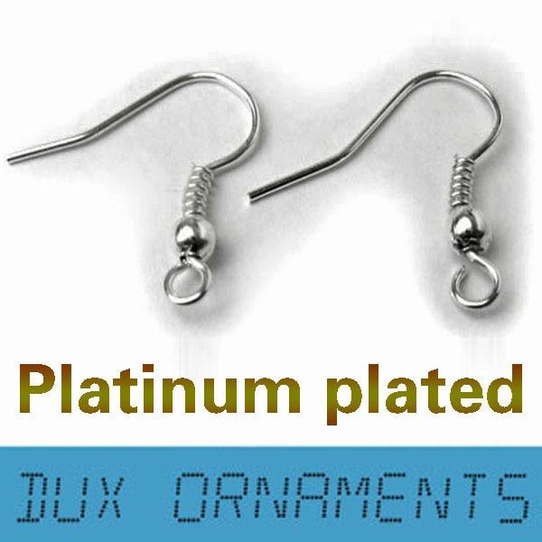 1000 шт/7 USD серебряный Французский проволочный сережки крючки Обычная Катушка ушной проволоки серьги ювелирный разъем - Цвет: platinum