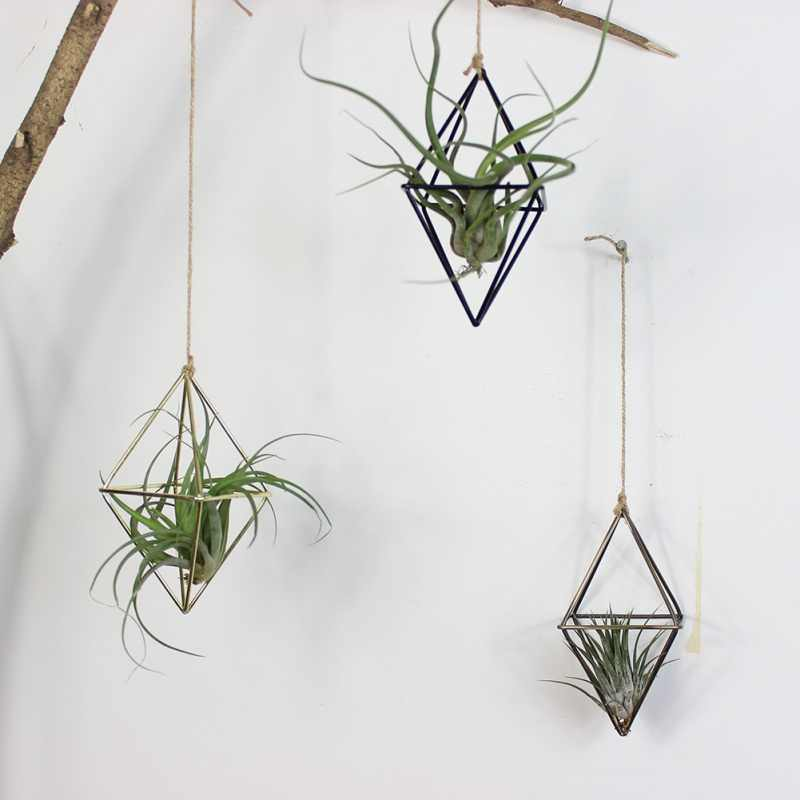 freestanding Hanging Planters Geometric Swing Wrought Iron Tillandsia Air Plants Holder Triangular Shaped Metal Rack