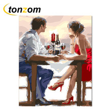 RIHE Couple Dinner Drawing By Numbers DIY Wine Food Painting Handwork On Canvas Lovers Oil Art Coloring Home Decor