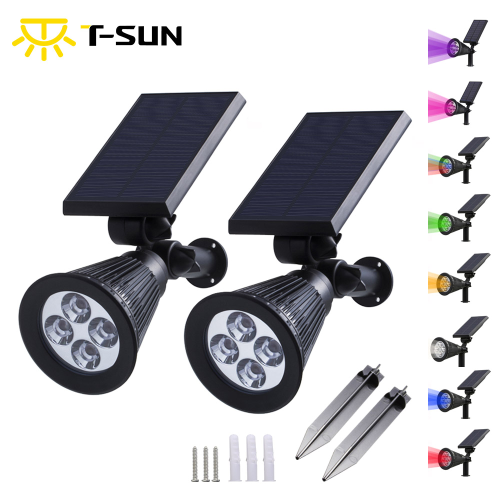 T-SUN 2PCS Solar Powered Spotlight Outdoor Lighting Solar Light 2-in-1 laras 4 LED Solar Solar Waterproof For Garden Garden