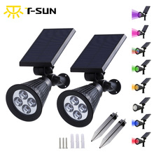 2PCS PACK Outdoor Solar Lights Portable Power LED Spotlight 2-in-1 Adjustable 4 Waterproof Fence Light