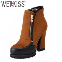 WETKISS 2018 Thick High Heels Ankle Boots For Women Zip Metal Sexy Boots Winter Spring Shoes High Thick heels Platform Boots