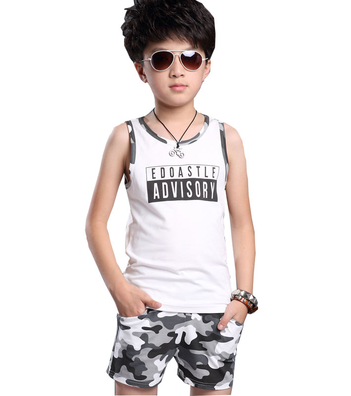 kids 2017 new summer sleeveless clothes 100% cotton print O-Neck boys vest suit camouflage Children's clothing 3 4 6 8 10 12 14