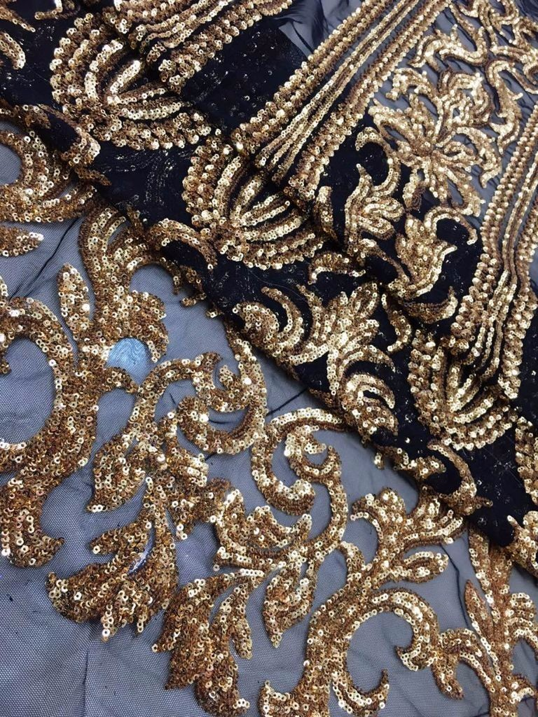 2019 high quality sequence French Nigerian gold line sequins net African tulle mesh sequence lace fabric