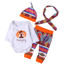 4pcs/sets Thanksgiving Gift Infant Clothing 2017 Baby Boys Girls Long Sleeve Printed Romper Pants Hat Headband Outfits Set