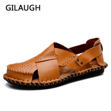GILAUGH 2018 Summer Fashion Men Sandals Simple Style Handmade Sewing Leather Casual Shoes Beach Breathable Sandals