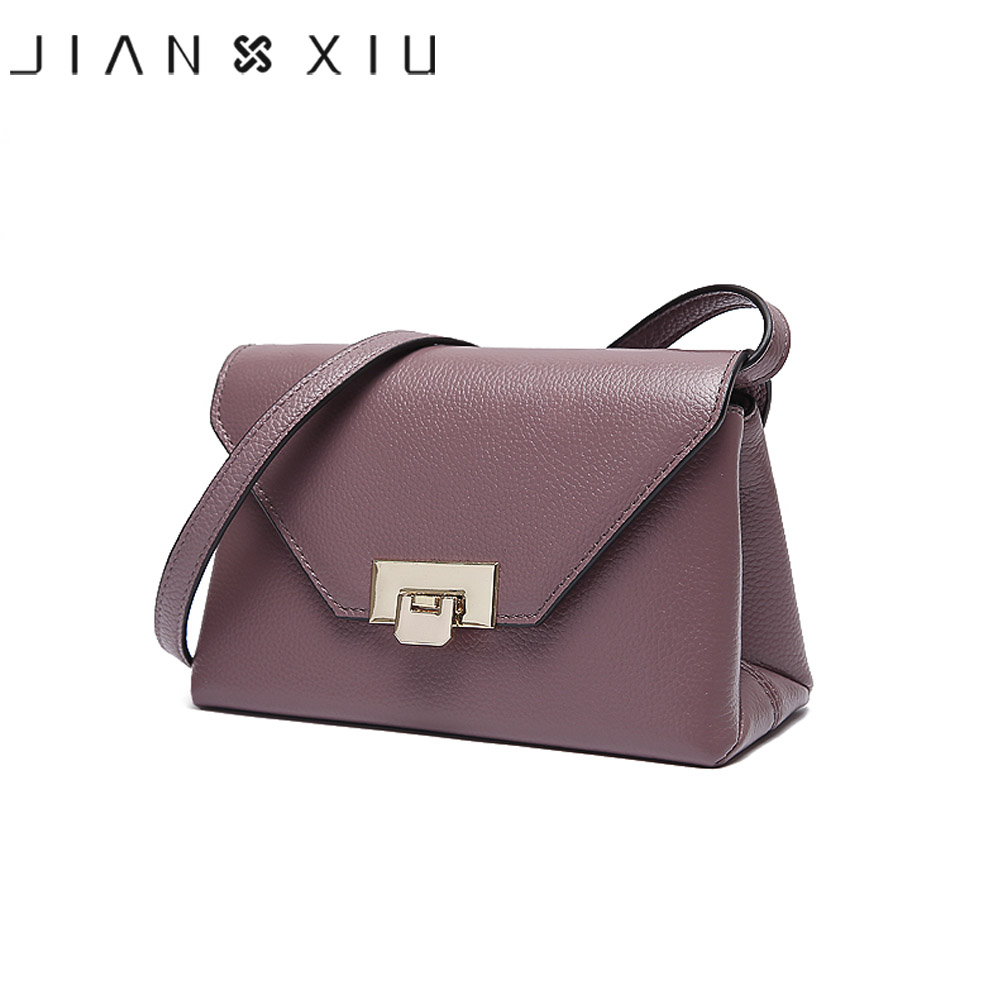 JIANXIU Brand 4 Solid Colors Genuine Leather Bag Fashion Women Shoulder Bags Crossbody Bags For Women Small Messenger Bag 2017 2017 summer metal ring women s messenger bags solid scrub leather women shoulder bag small flap bag casual girl crossbody bags