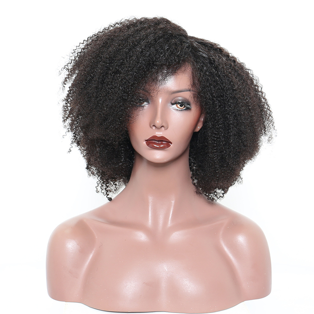 African Kinky Curly Remy Human Full Lace Hair Wigs
