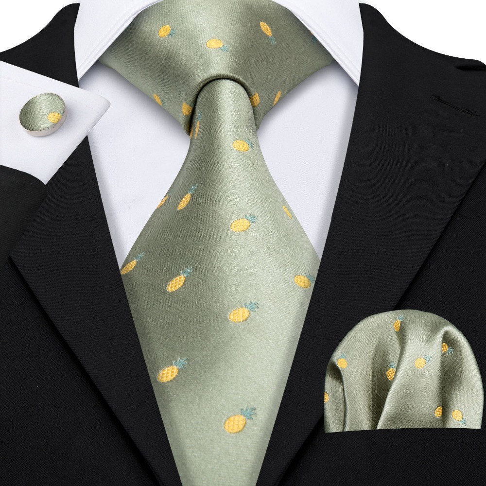 2019 Barry.Wang New Khaki Pineapple Pattern 100% Silk Ties Gifts For Men Wedding Party Business Luxury Neckties Sets LS-5118
