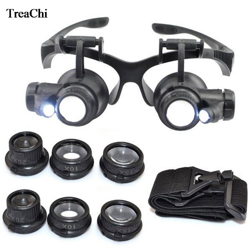 New Professional Adjustable Head Band Eyeglasses Magnifier With 8 Lens LED Magnifier Safety Goggles Watch Repair Eyewear