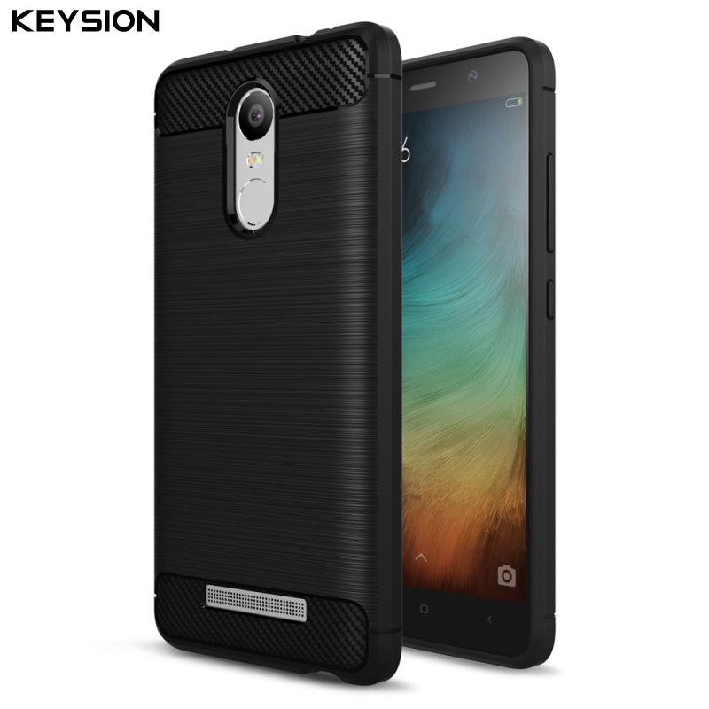 KEYSION Tpu-Cases Mobile-Phone-Bag Note-3 Pro-Cover Xiaomi Redmi Carbon-Fibre-Brushed