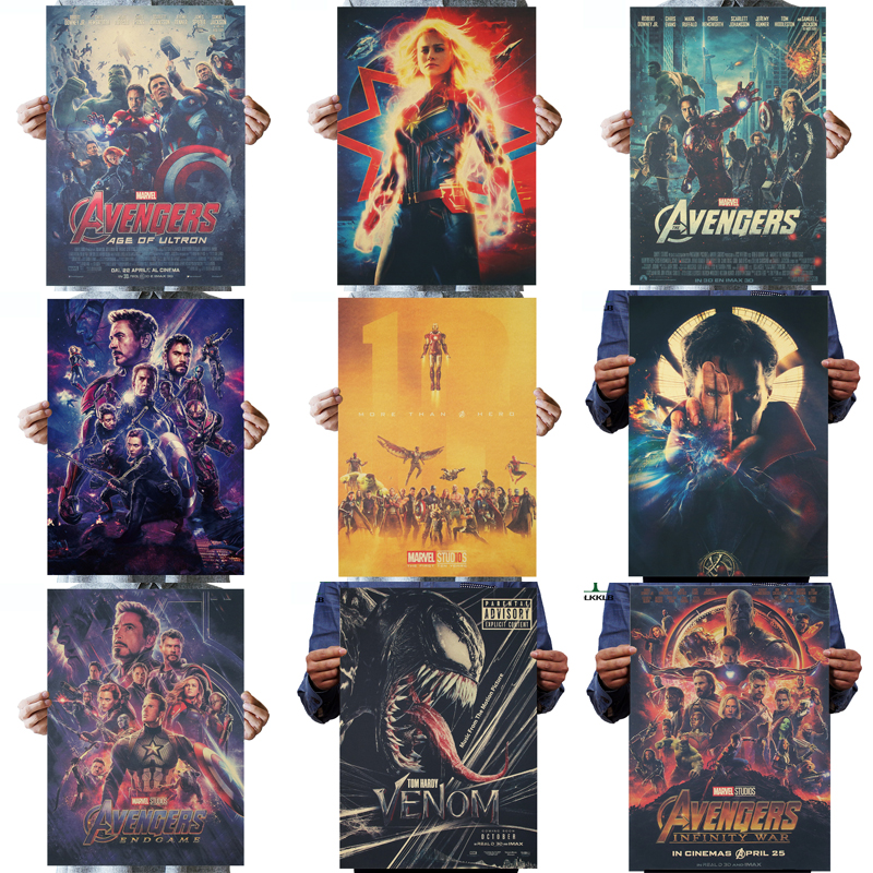 DLKKLB Marvel ภาพยนตร์โปสเตอร์ VINTAGE Avengers คอลเลกชัน 51.5X36 ซม.War Wall สติกเกอร์บาร์ Cafe Home Super HERO ตกแต่งภาพวาด