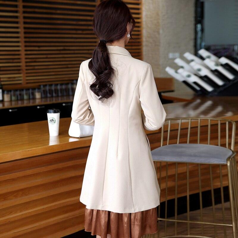Tempérament La Beige vent Les Version Coupe Solide Veste Longue Nouvelle Coréenne Élégant De Dans Manteau Dames Couleur kaki Slim Dame Femmes pSw5qO