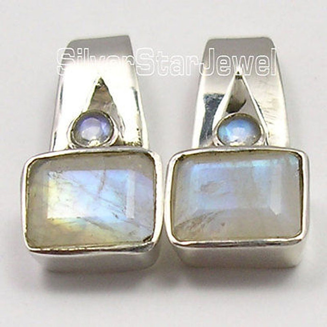 Silver BLUE RAINBOW MOONSTONE 2 GEM NEW Studs Earrings 3/4 inches