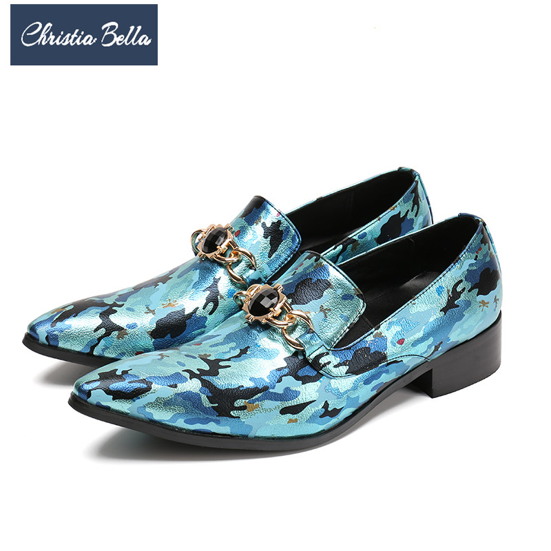 Christia Bella Designer Fashion Camouflage Men Dress Shoes Genuine Leather Pointed Toe Party Formal Shoes Big Size Men Loafers breathable big size flats prom monk strap wedding party genuine leather men pointed toe dress shoes solid red fashion autumn hot
