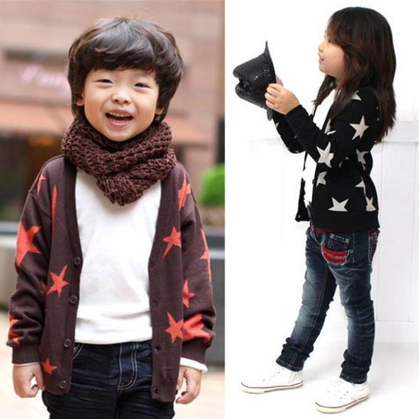 Kids Boys Girls Cotton Clothes Long Sleeve Stars Print Knitwear Outwear Coat Jacket Tops