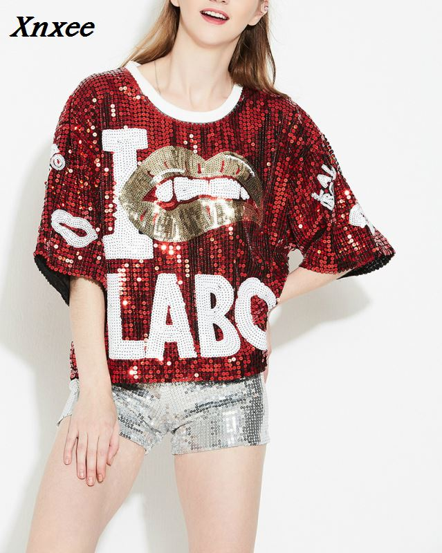T-Shirts Women Letter Stage-Clothing Club Fashion Summer Sequined Ds Jazz Hip-Hop Dance