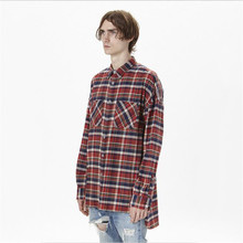 Fear of God Men Plaid Shirt Latest Design New Scottish tartan High Street Bieber Style long sleeve man shirts irregular Length