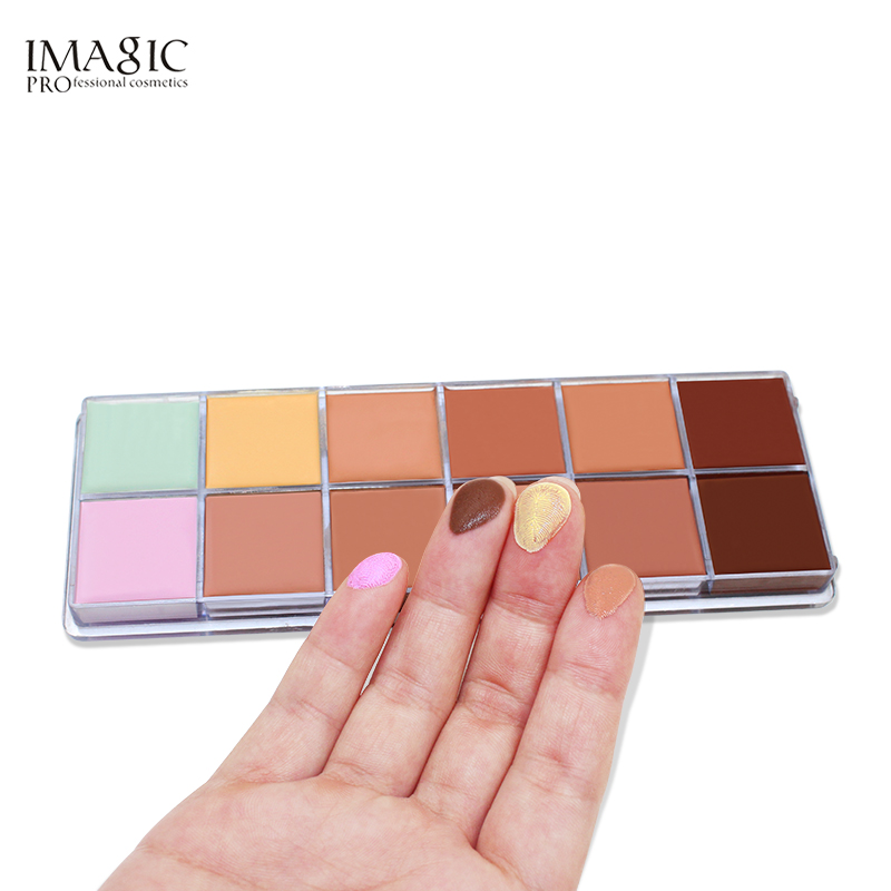 IMAGIC Professional Concealer Palette 12 Colors Makeup Foundation Facial Face Cream Concealer Powder Palettes Cosmetic