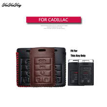 KUKAKEY Genuine Leather Remote Keyless Car Key Case Cover For Cadillac CTS Escalade SRX ATS STS Square Shop Gift Holder Bag