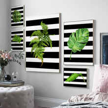 Green Big Monstera Banana Leaf Wall Art Canvas Painting Plants Nordic Posters And Prints Pictures For Living Room Decor