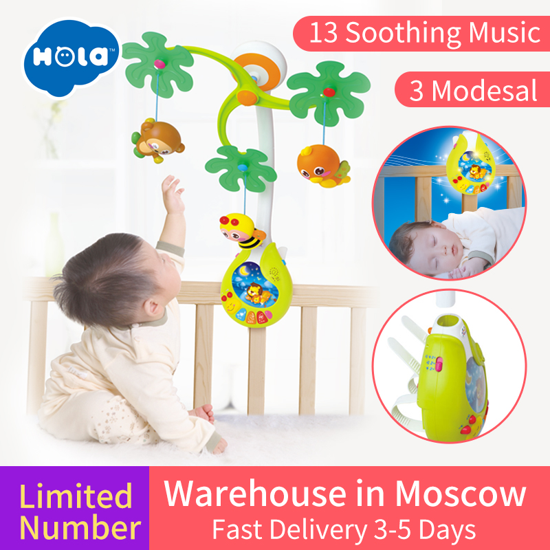Baby Crib Musical Mobile Bell Music Box with Holder Arm Daytime and Evening Mode Baby Bed Hanging Rattle Toys Newborn Gift baby toys baby mobile crib rabbit elephant musical box with holder arm music newborn rotating bed bell plush toy