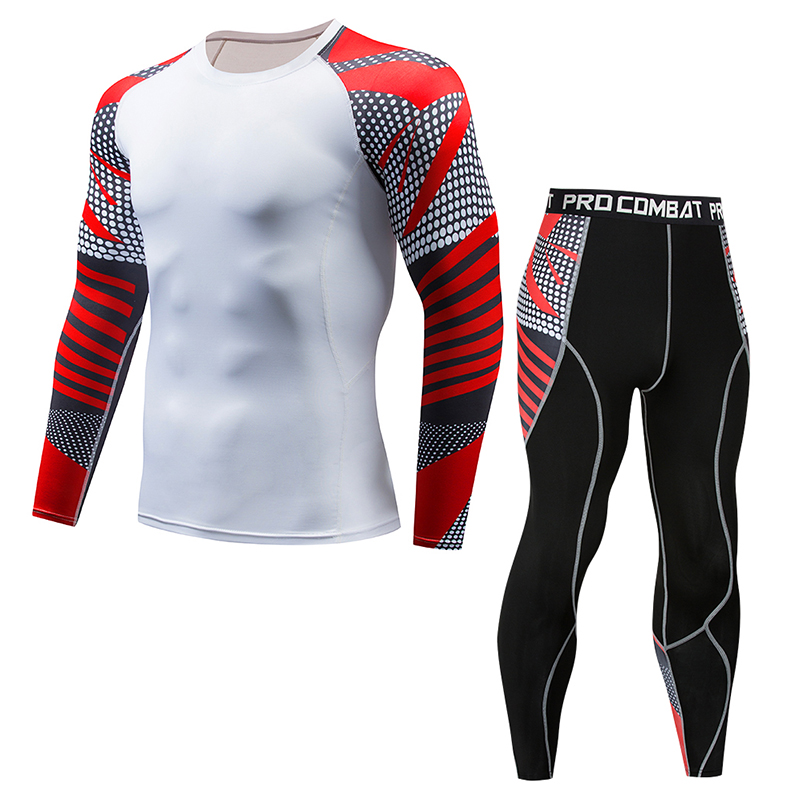 2018MMA New 3D Mens Compressed Muscle Exercise Set Bodybuilding Fitness Set Long T-shirt Slim Elastic Sweat TopTop Gear